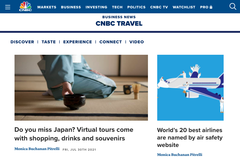 CNBC Travel で、弊社のPrivate Online Tourが紹介されました!